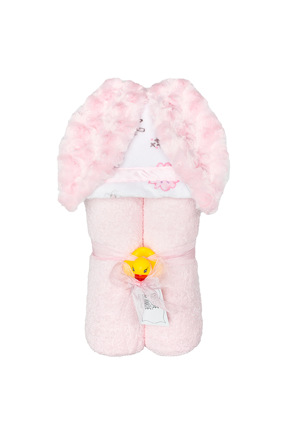 Skylar Hooded Towel Pink Bunny