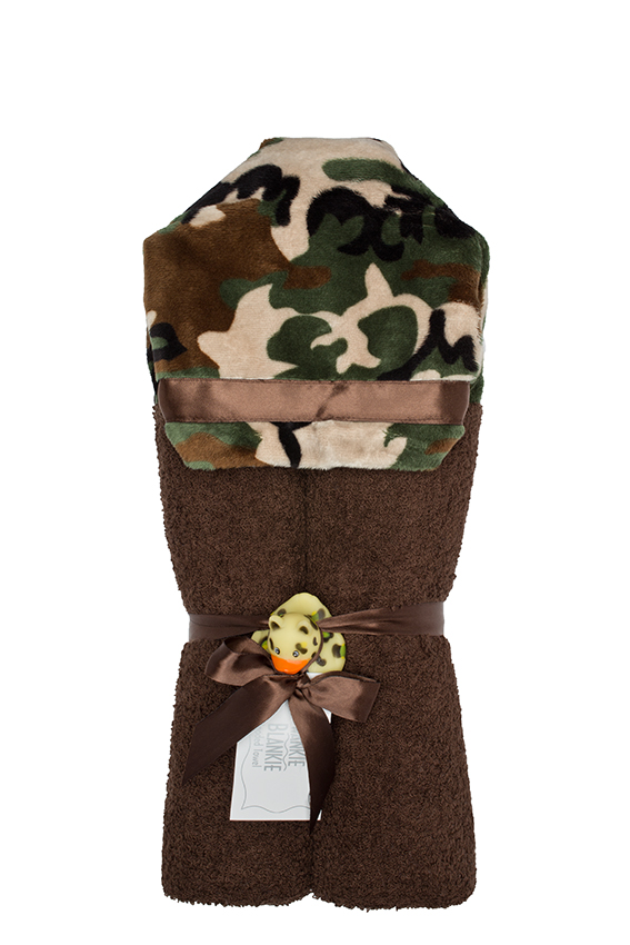 Camouflage Hooded Towel Brown