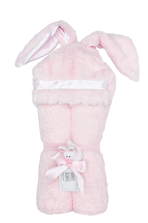 Carson Hooded Towel Blush Bunny
