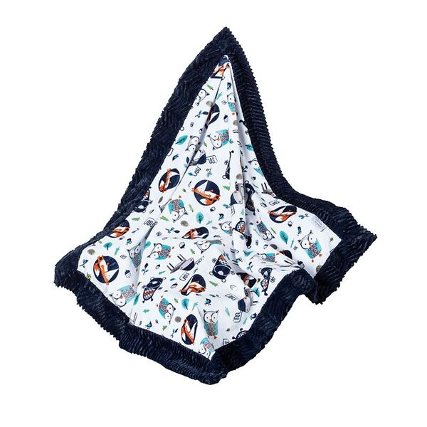 Skylar Toddler Blanket Navy Woodland